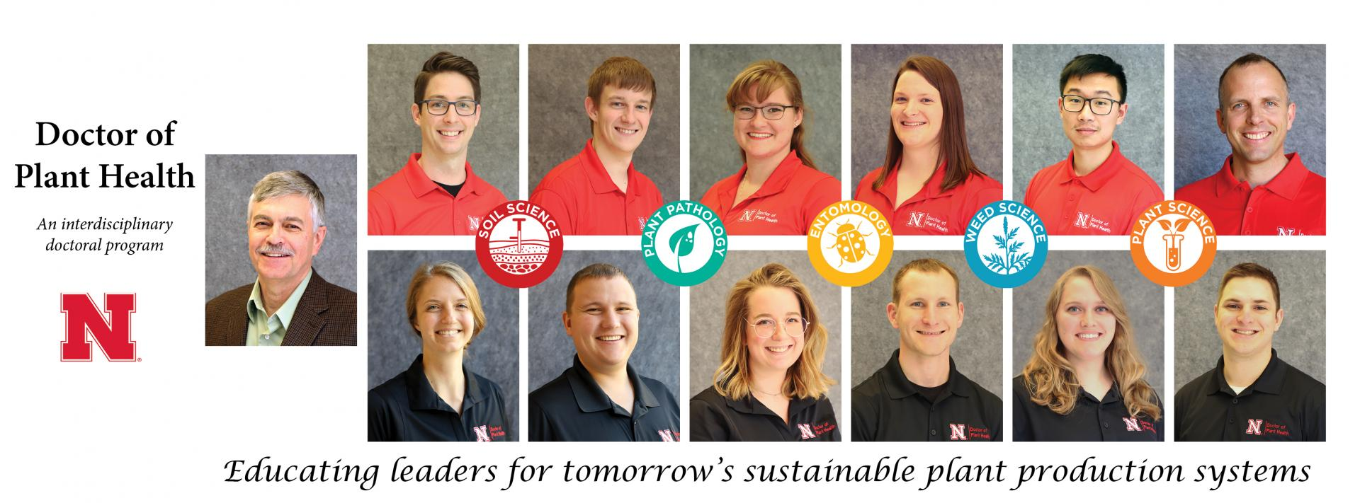 headshots of Doctor of Plant Health students. Educating leaders for tomorrow's sustainable plant production systems.